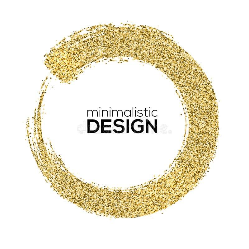 Στρογγυλά κτυπήματα βουρτσών της χρυσής λαμπιρίζοντας σκόνης, αφηρημένες μορφές Το επίχρισμα με το χρυσό λαμπύρισμα ακτινοβολεί α απεικόνιση αποθεμάτων