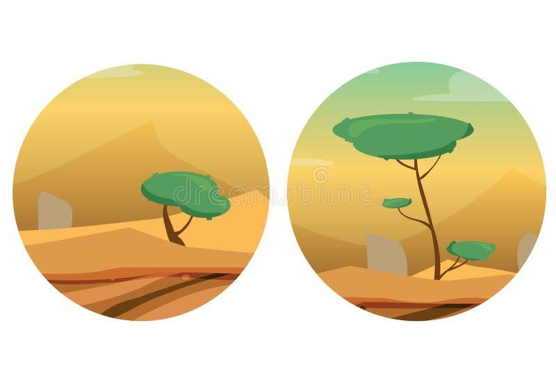 Στρογγυλές απεικονίσεις με την έρημο, τους αμμόλοφους, τα δέντρα και τις πέτρες ελεύθερη απεικόνιση δικαιώματος