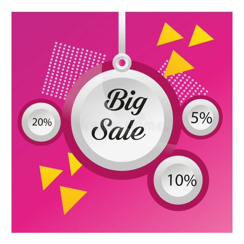 Στρογγυλές ετικέττες έκπτωσης στο πορφυρό αφηρημένο υπόβαθρο Σχέδιο προτύπων εμβλημάτων πώλησης Μεγάλη ειδική προσφορά πώλησης 5% διανυσματική απεικόνιση