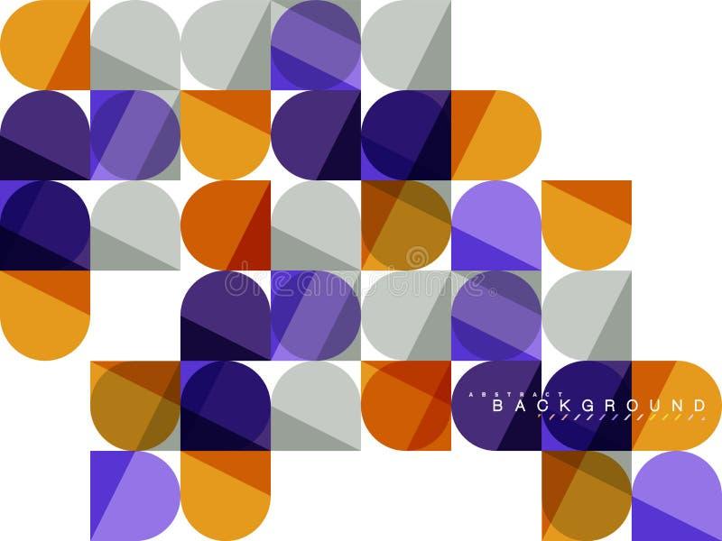 Στρογγυλές τετραγωνικές γεωμετρικές μορφές στο λευκό, αφηρημένο υπόβαθρο μωσαϊκών κεραμιδιών απεικόνιση αποθεμάτων