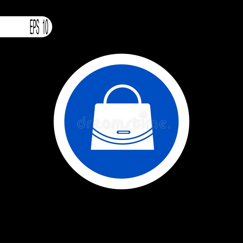 Στρογγυλή άσπρη λεπτή γραμμή σημαδιών Σημάδι τσαντών, εικονίδιο - διανυσματική απεικόνιση ελεύθερη απεικόνιση δικαιώματος