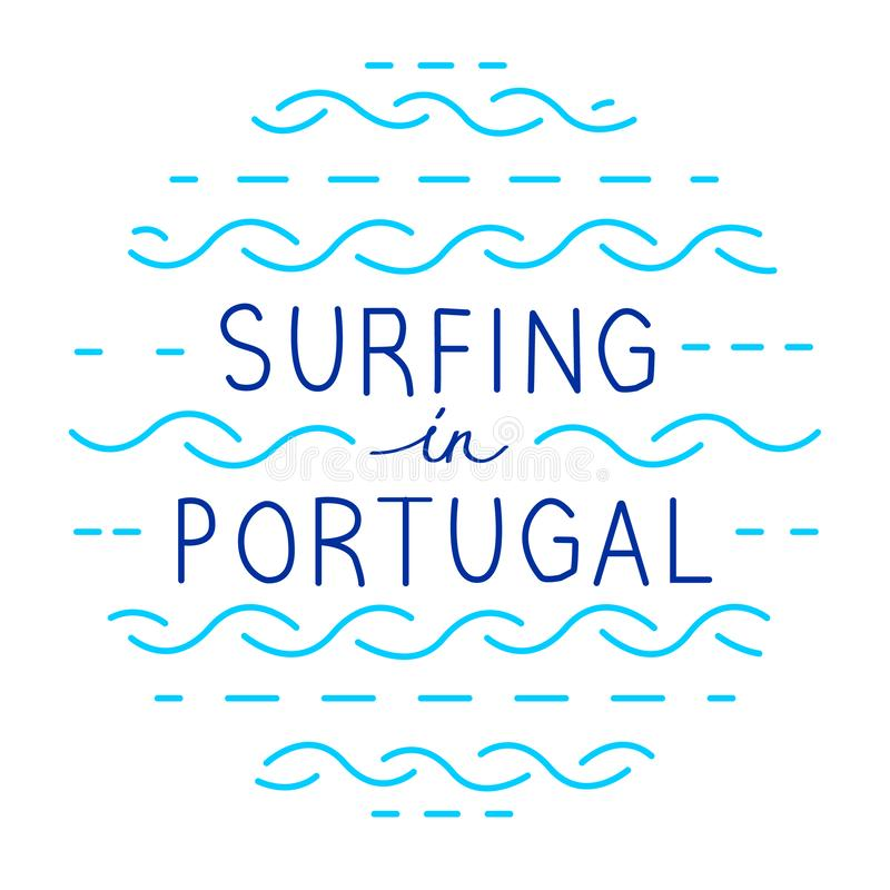 Στρογγυλή διανυσματική εγγραφή γραμμών Σερφ στην Πορτογαλία διανυσματική απεικόνιση