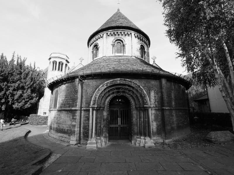 Στρογγυλή εκκλησία στο Καίμπριτζ σε γραπτό στοκ φωτογραφία