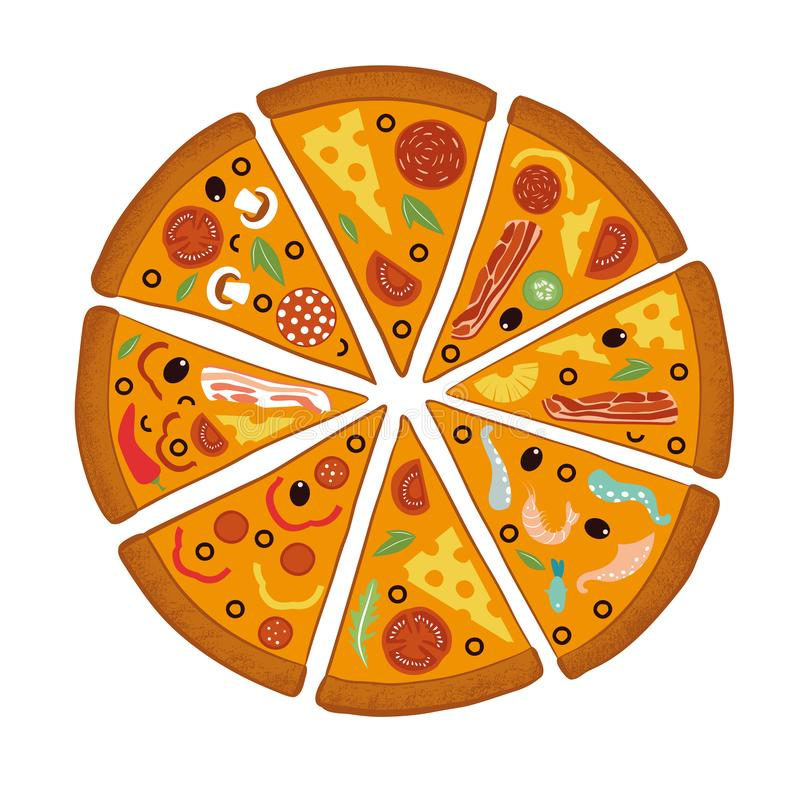 Στρογγυλή μεγάλη πίτσα μιγμάτων, τρίγωνο φετών, ιταλικές επιλογές εστιατορίων, συστατικά τροφίμων πρόχειρων φαγητών για την πίτσα διανυσματική απεικόνιση
