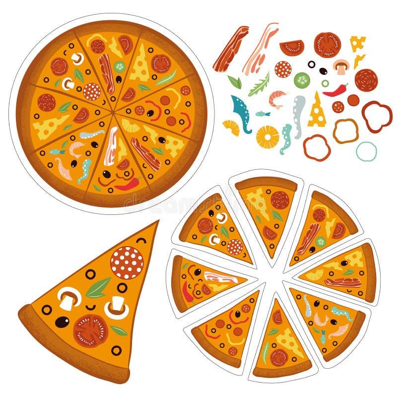 Στρογγυλή μεγάλη πίτσα μιγμάτων, τρίγωνο φετών, ιταλικές επιλογές εστιατορίων, συστατικά τροφίμων πρόχειρων φαγητών για την πίτσα απεικόνιση αποθεμάτων