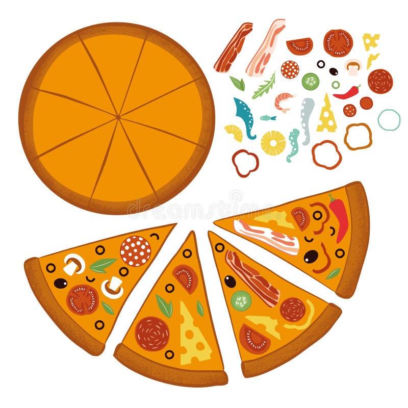 Στρογγυλή μεγάλη πίτσα μιγμάτων, τρίγωνο φετών, ιταλικές επιλογές εστιατορίων, συστατικά τροφίμων πρόχειρων φαγητών για την πίτσα ελεύθερη απεικόνιση δικαιώματος