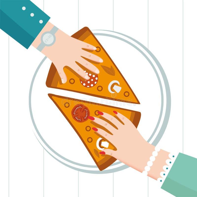 Στρογγυλή μεγάλη πίτσα, τρίγωνο φετών, ιταλικές επιλογές εστιατορίων, συστατικά τροφίμων πρόχειρων φαγητών για την πίτσα Οικογενε διανυσματική απεικόνιση