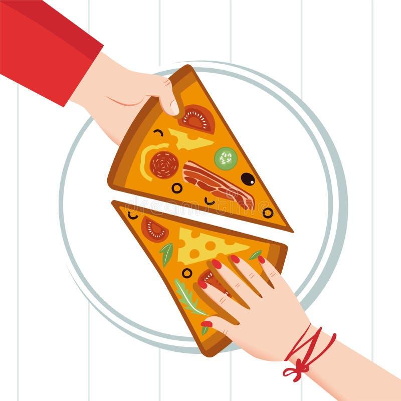 Στρογγυλή μεγάλη πίτσα, τρίγωνο φετών, ιταλικές επιλογές εστιατορίων, συστατικά τροφίμων πρόχειρων φαγητών για την πίτσα Οικογενε απεικόνιση αποθεμάτων