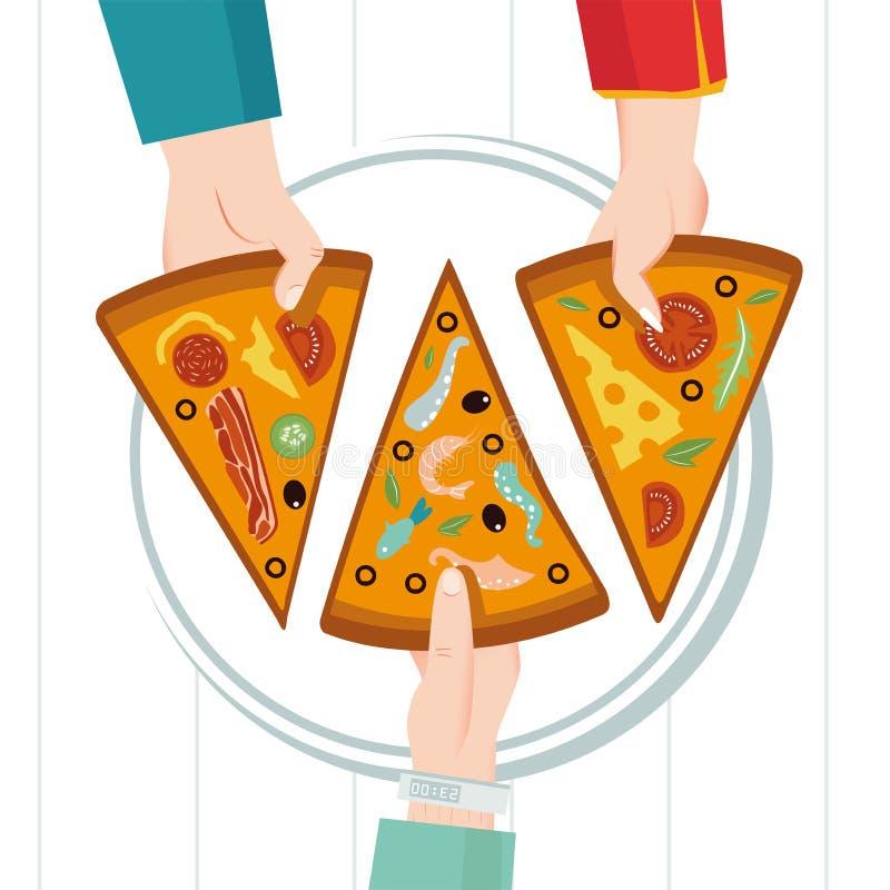 Στρογγυλή μεγάλη πίτσα, τρίγωνο φετών, ιταλικές επιλογές εστιατορίων Οικογενειακό κόμμα Γεύμα με τους φίλους Ο καθένας παίρνει έν απεικόνιση αποθεμάτων