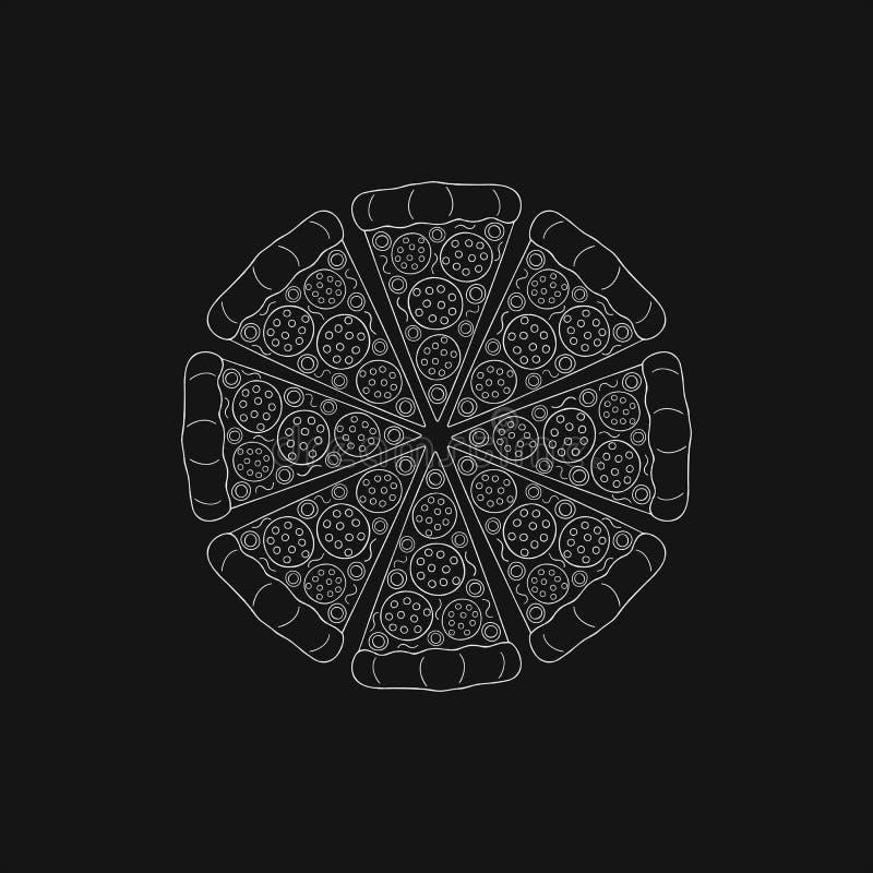 Στρογγυλή πίτσα με το λουκάνικο διανυσματική απεικόνιση