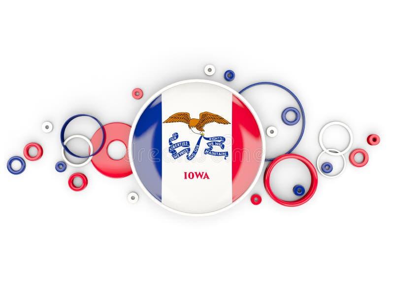 Στρογγυλή σημαία του Iowa με το σχέδιο κύκλων Ηνωμένο τοπικό fla απεικόνιση αποθεμάτων