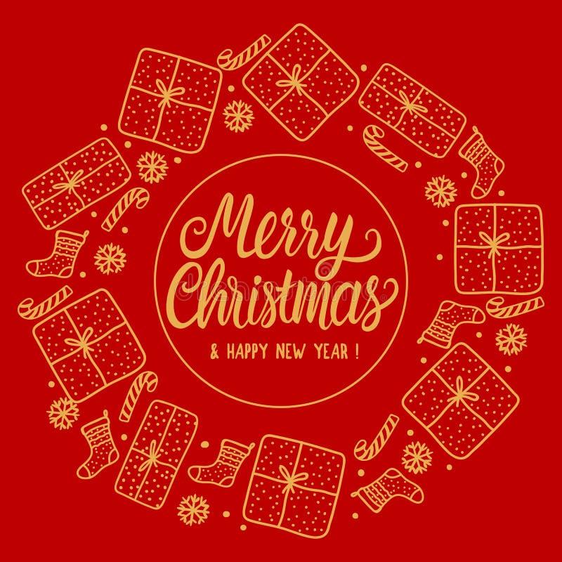 Στρογγυλή Χαρούμενα Χριστούγεννα πλαισίων με τη χρυσή επιγραφή εγγραφής Συρμένες χέρι κιβώτιο δώρων και κάλτσα santa, κάλαμος καρ ελεύθερη απεικόνιση δικαιώματος
