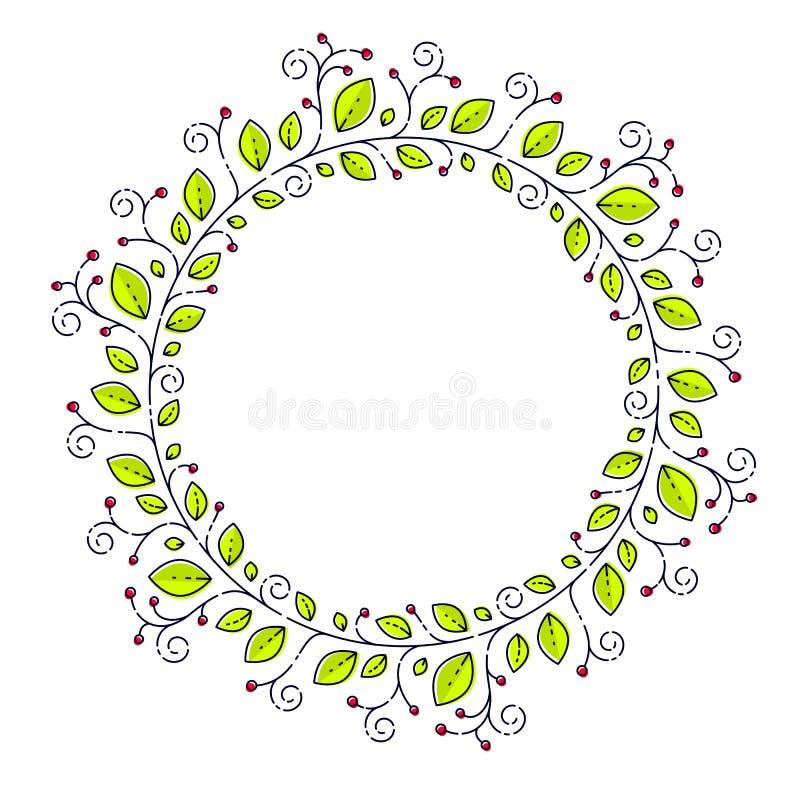 Στρογγυλή floral μορφή των φύλλων και των μούρων και διάστημα αντιγράφων για το κείμενο μέσα απεικόνιση αποθεμάτων