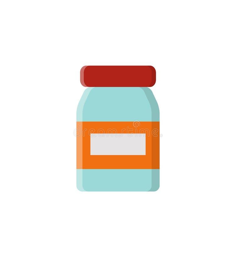 Στρογγυλευμένο μπουκάλι γυαλιού και διανυσματική απεικόνιση ετικετών διανυσματική απεικόνιση