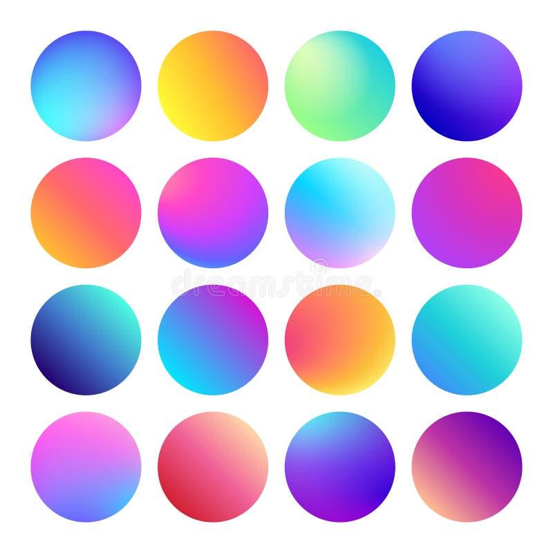 Στρογγυλευμένο ολογραφικό κουμπί σφαιρών κλίσης Πολύχρωμες ρευστές κλίσεις κύκλων, ζωηρόχρωμα στρογγυλά κουμπιά ή ζωηρό χρώμα διανυσματική απεικόνιση