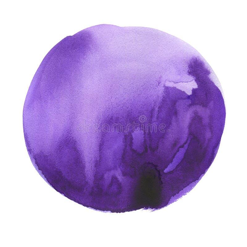 Στρογγυλός λεκές watercolor Υπεριώδης ακτίνα, πορφυρό χρώμα στοκ φωτογραφίες με δικαίωμα ελεύθερης χρήσης