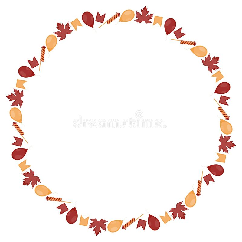 Στρογγυλό έμβλημα για την ημέρα του Καναδά Η επιγραφή περιβάλλεται από τα μικρά κόκκινος-κίτρινα φύλλα σφενδάμου, τις σημαίες, τι διανυσματική απεικόνιση