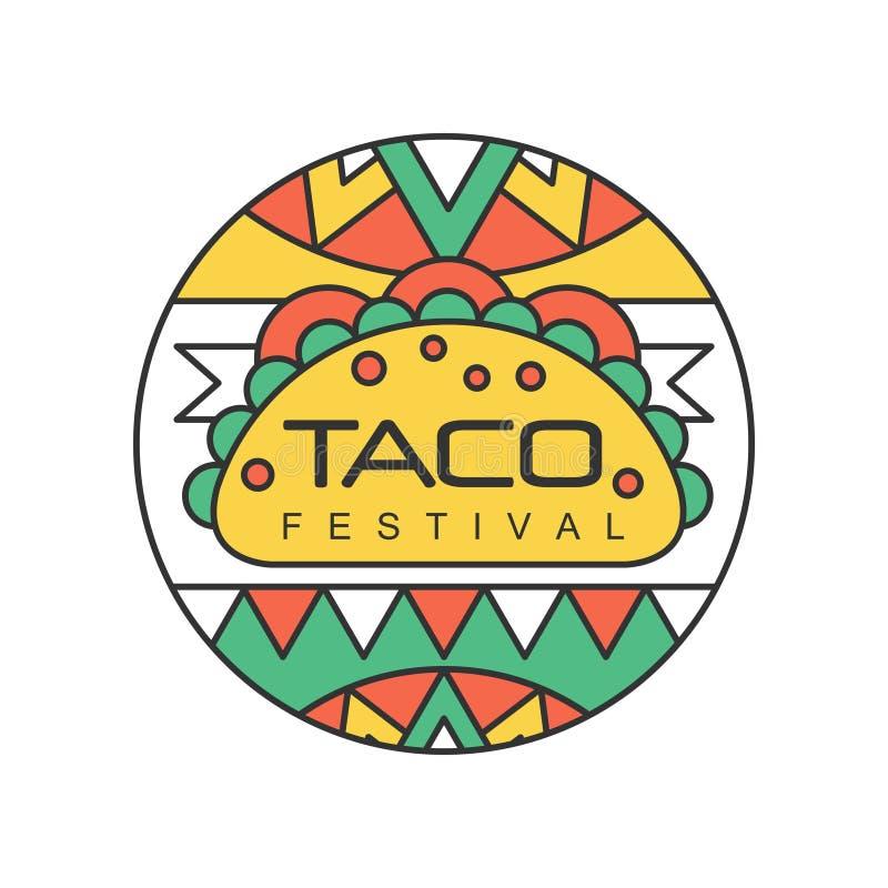 Στρογγυλό έμβλημα με τα μεξικάνικα παραδοσιακά τρόφιμα οδών Έννοια φεστιβάλ Taco Αφηρημένο διανυσματικό σχέδιο για το λογότυπο, δ ελεύθερη απεικόνιση δικαιώματος