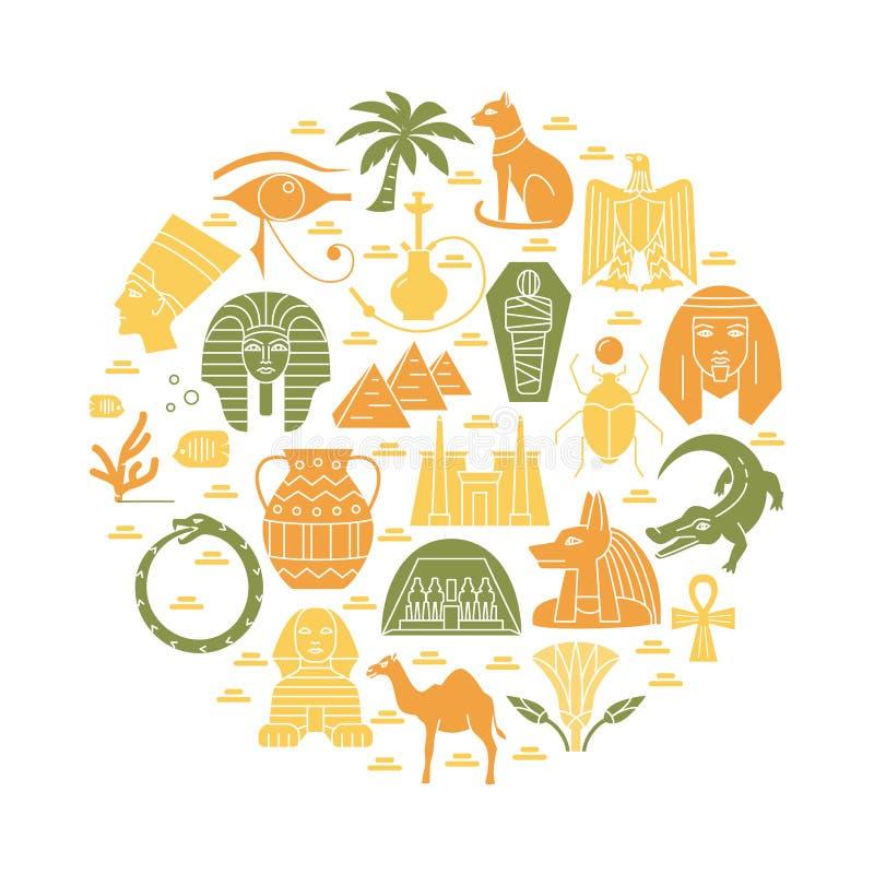 Στρογγυλό έμβλημα με τα σύμβολα της Αιγύπτου στο επίπεδο ύφος απεικόνιση αποθεμάτων