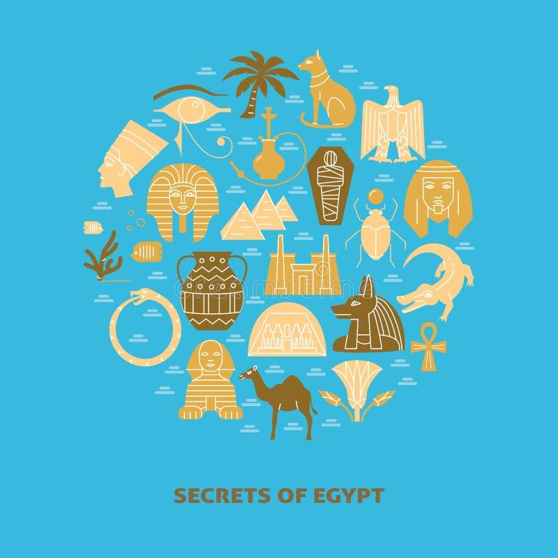 Στρογγυλό έμβλημα με τα σύμβολα της Αιγύπτου στο επίπεδο ύφος ελεύθερη απεικόνιση δικαιώματος