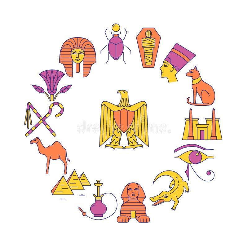 Στρογγυλό έμβλημα με τα σύμβολα της Αιγύπτου στο ύφος γραμμών απεικόνιση αποθεμάτων
