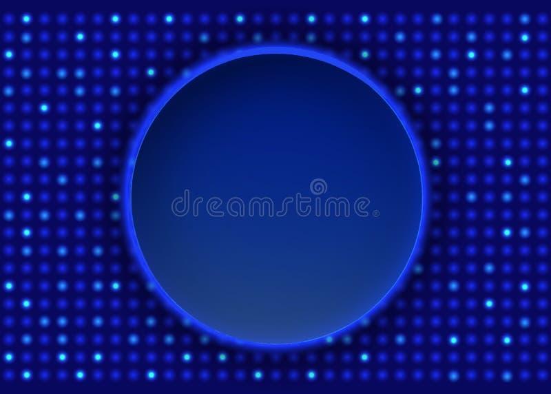 Στρογγυλό έμβλημα στο μπλε ματ υπόβαθρο μωσαϊκών Το σχέδιο για την παρουσίαση, συναυλία, παρουσιάζει στοκ φωτογραφίες