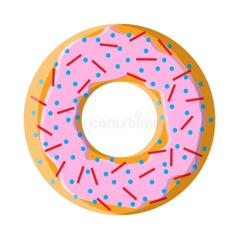 Στρογγυλό γλυκό νόστιμο εγκάρδιο καυτό φρέσκο doughnut, ζύμες, μπισκότα με το κάλυμμα ζάχαρης στη ρόδινη τήξη σε ένα άσπρο υπόβαθ διανυσματική απεικόνιση