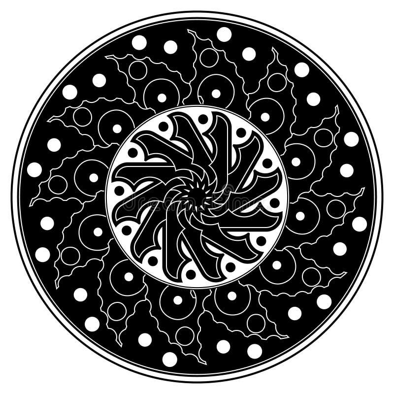 Στρογγυλό διακοσμητικό σχέδιο Όμορφο Mandala μαύρο λευκό απεικόνιση αποθεμάτων