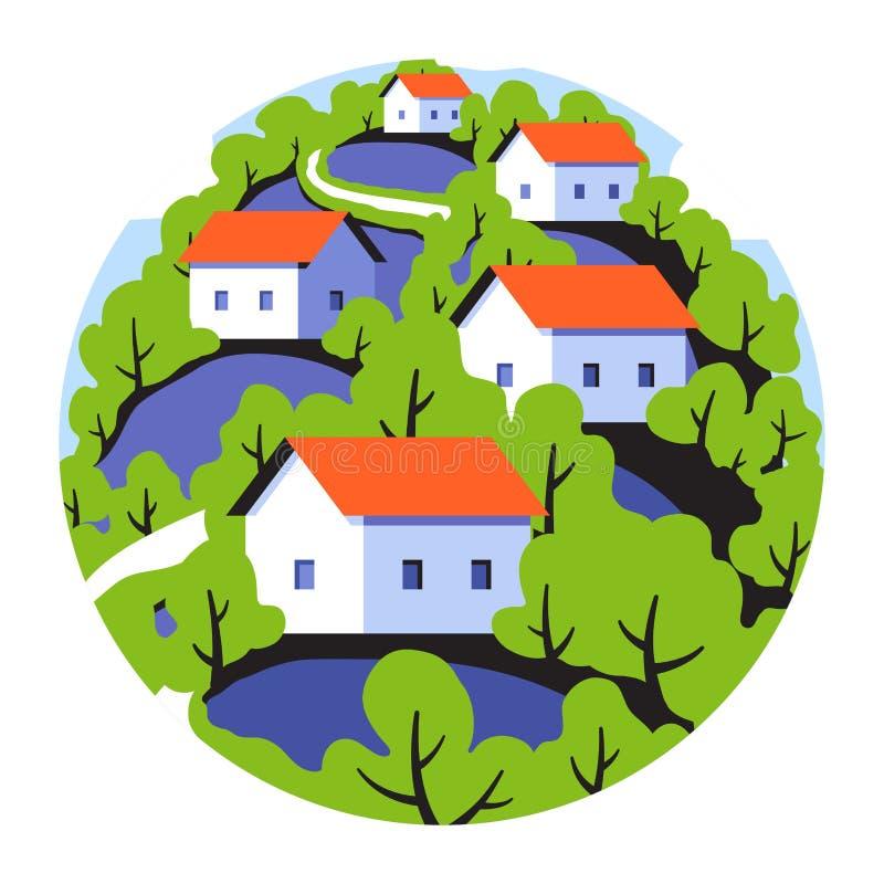 Στρογγυλό διακριτικό με το αγροτικό τοπίο με τα χαριτωμένα μικρά σπίτια ελεύθερη απεικόνιση δικαιώματος