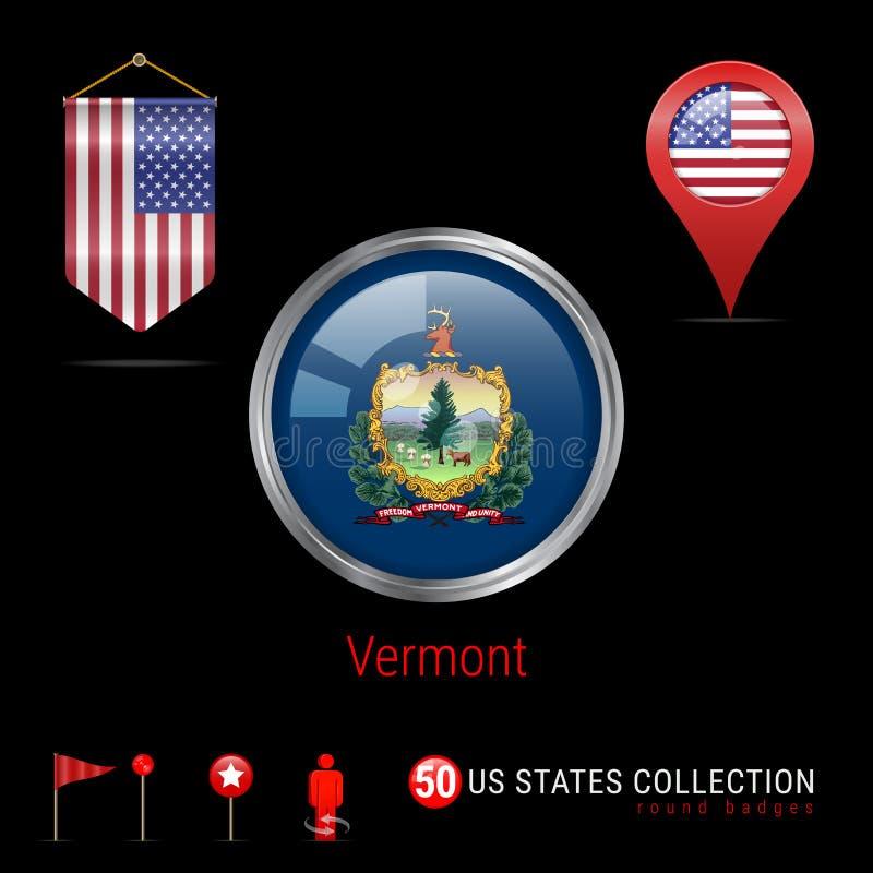 Στρογγυλό διανυσματικό διακριτικό χρωμίου με την κρατική σημαία του Βερμόντ ΗΠΑ Σημαία σημαιών των ΗΠΑ Δείκτης χαρτών - ΗΠΑ Εικον διανυσματική απεικόνιση