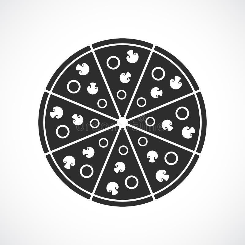 Στρογγυλό διανυσματικό εικονίδιο πιτσών απεικόνιση αποθεμάτων