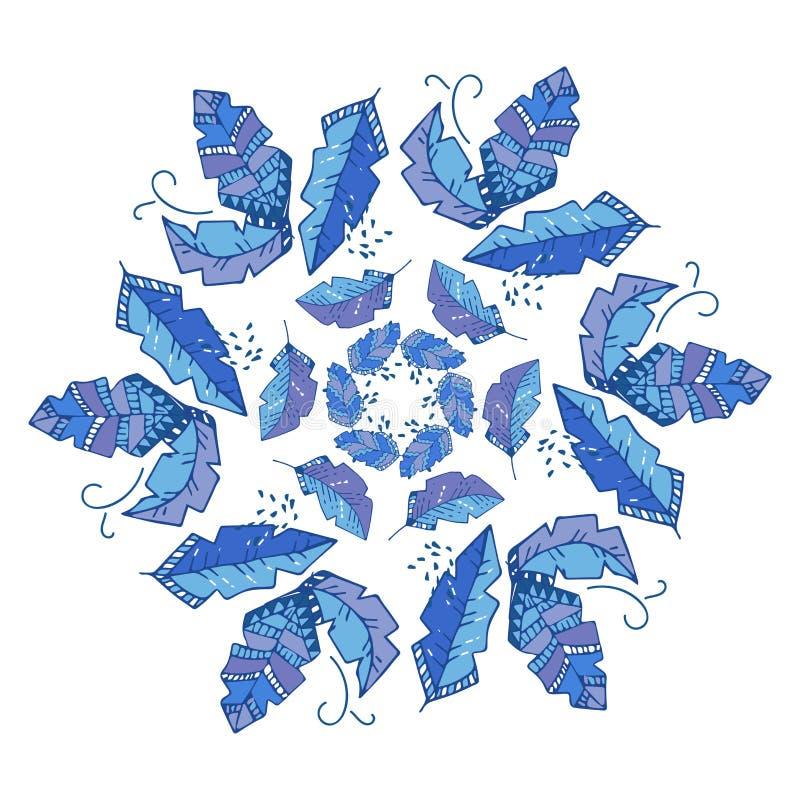 Στρογγυλό διανυσματικό σχέδιο, που επαναλαμβάνει το αφηρημένο υπόβαθρο γεωμετρίας, στο σκαλί boho μπλε φύλλα ή λουλούδι, floral γ ελεύθερη απεικόνιση δικαιώματος