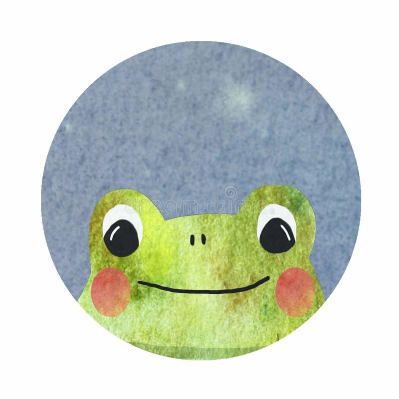 Στρογγυλό εικονίδιο με έναν βάτραχο ελεύθερη απεικόνιση δικαιώματος