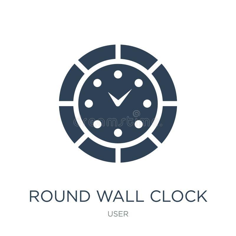 στρογγυλό εικονίδιο ρολογιών τοίχων στο καθιερώνον τη μόδα ύφος σχεδίου στρογγυλό εικονίδιο ρολογιών τοίχων που απομονώνεται στο  ελεύθερη απεικόνιση δικαιώματος