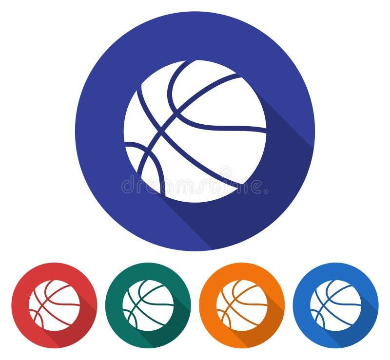 Στρογγυλό εικονίδιο της καλαθοσφαίρισης διανυσματική απεικόνιση