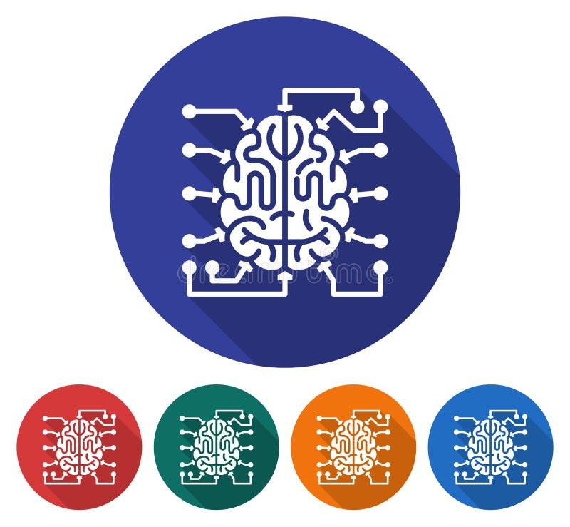 Στρογγυλό εικονίδιο του εγκεφάλου ως μονάδα κεντρικής επεξεργασίας απεικόνιση αποθεμάτων
