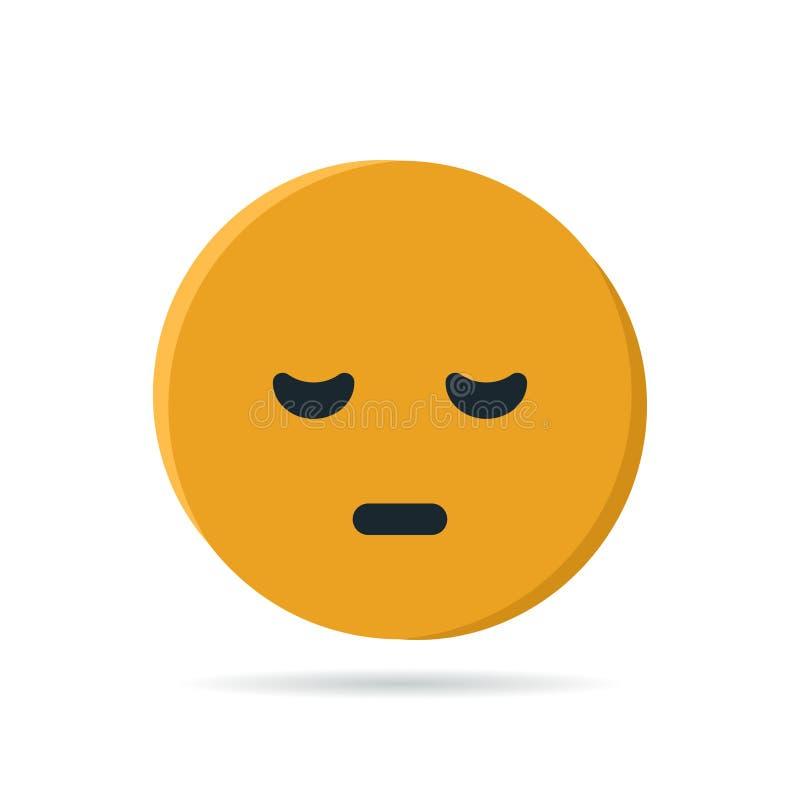 Στρογγυλό κίτρινο emoji στο επίπεδο ύφος, διάνυσμα διανυσματική απεικόνιση