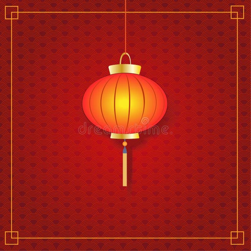 Στρογγυλό κινεζικό φανάρι σε ένα κόκκινο κατασκευασμένο υπόβαθρο, χρυσό πλαίσιο επίσης corel σύρετε το διάνυσμα απεικόνισης απεικόνιση αποθεμάτων
