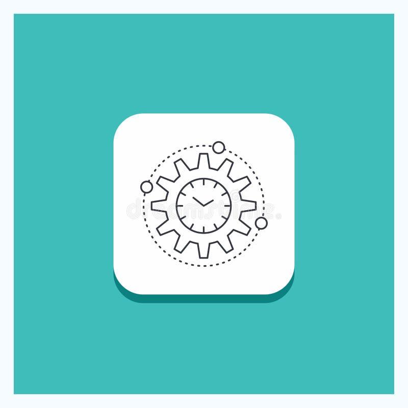 Στρογγυλό κουμπί για την αποδοτικότητα, διαχείριση, επεξεργασία, παραγωγικότητα, τυρκουάζ υπόβαθρο εικονιδίων γραμμών προγράμματο ελεύθερη απεικόνιση δικαιώματος