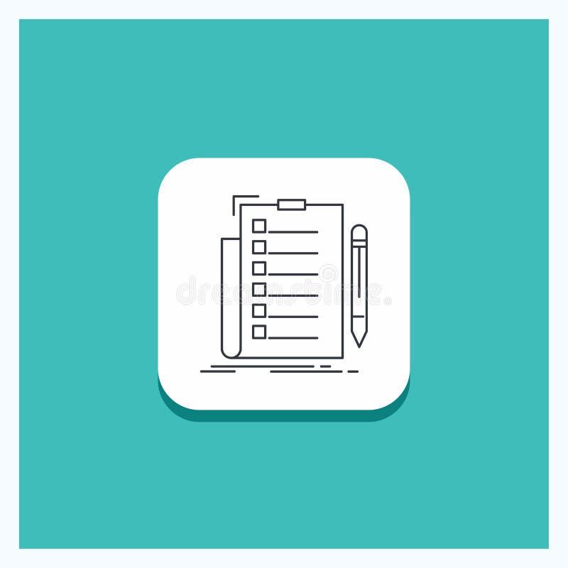 Στρογγυλό κουμπί για την πείρα, πίνακας ελέγχου, έλεγχος, κατάλογος, τυρκουάζ υπόβαθρο εικονιδίων γραμμών εγγράφων διανυσματική απεικόνιση