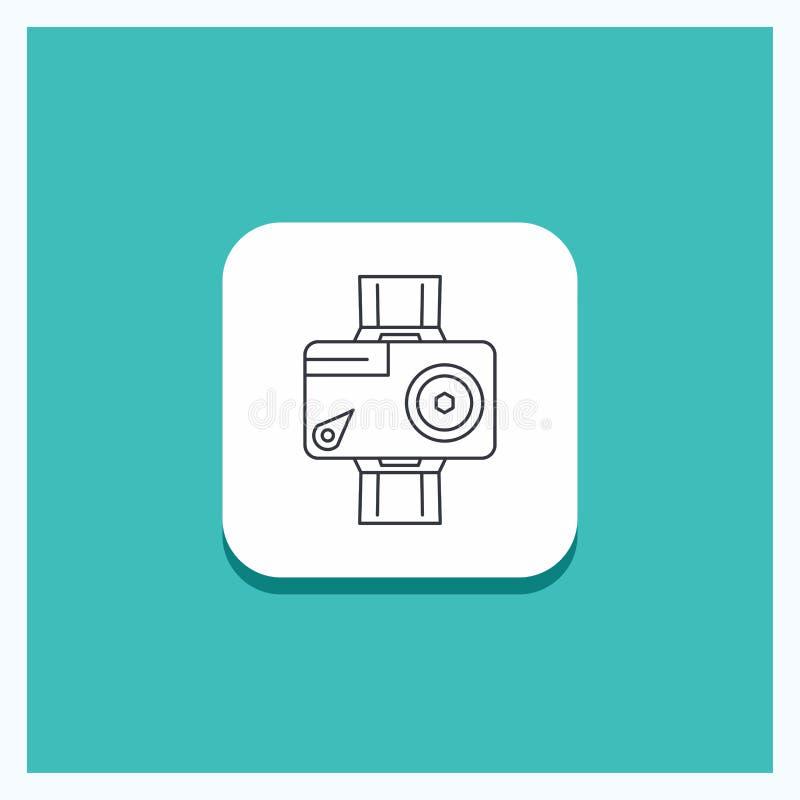 Στρογγυλό κουμπί για τη κάμερα, δράση, ψηφιακός, τηλεοπτικός, τυρκουάζ υπόβαθρο εικονιδίων γραμμών φωτογραφιών διανυσματική απεικόνιση