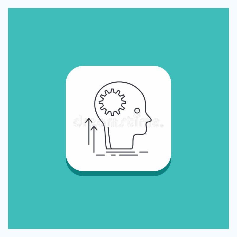 Στρογγυλό κουμπί για το μυαλό, δημιουργικός, σκέψη, ιδέα, τυρκουάζ υπόβαθρο εικονιδίων γραμμών 'brainstorming' διανυσματική απεικόνιση