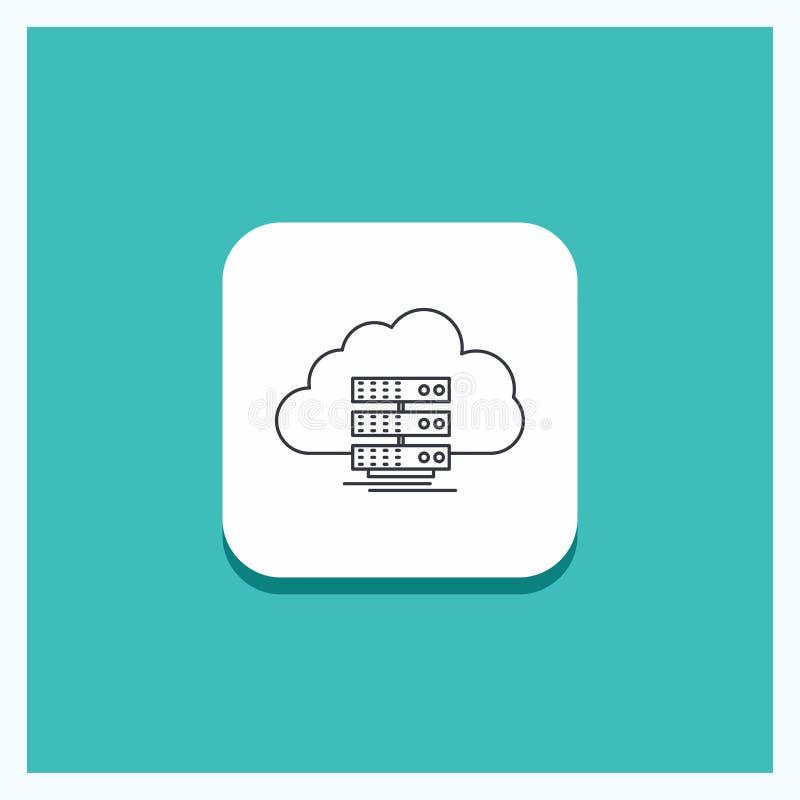 Στρογγυλό κουμπί για το σύννεφο, αποθήκευση, υπολογισμός, στοιχεία, τυρκουάζ υπόβαθρο εικονιδίων γραμμών ροής απεικόνιση αποθεμάτων
