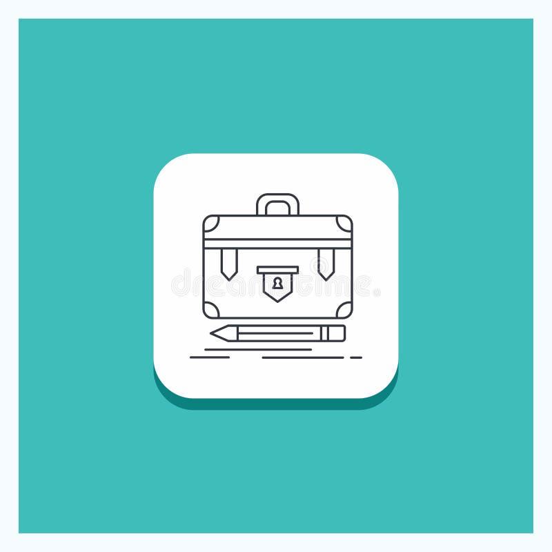 Στρογγυλό κουμπί για το χαρτοφύλακα, επιχείρηση, οικονομική, διαχείριση, τυρκουάζ υπόβαθρο εικονιδίων γραμμών χαρτοφυλακίων διανυσματική απεικόνιση