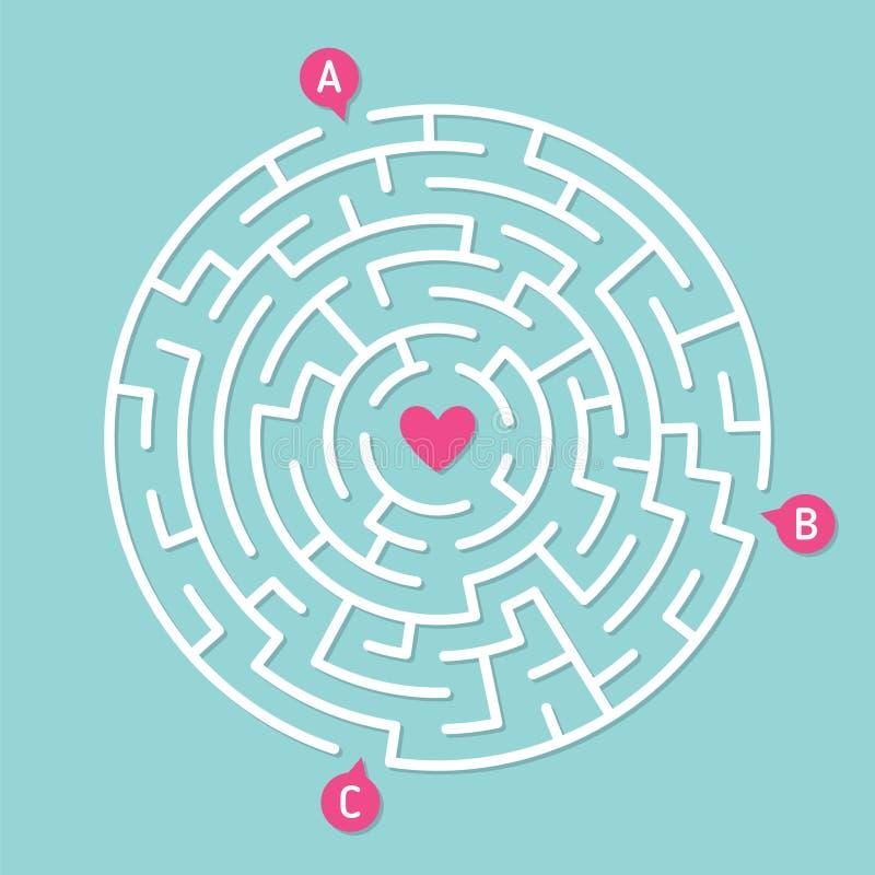 Στρογγυλό παιχνίδι λαβυρίνθου λαβύρινθων Έννοια της αγάπης διανυσματική απεικόνιση
