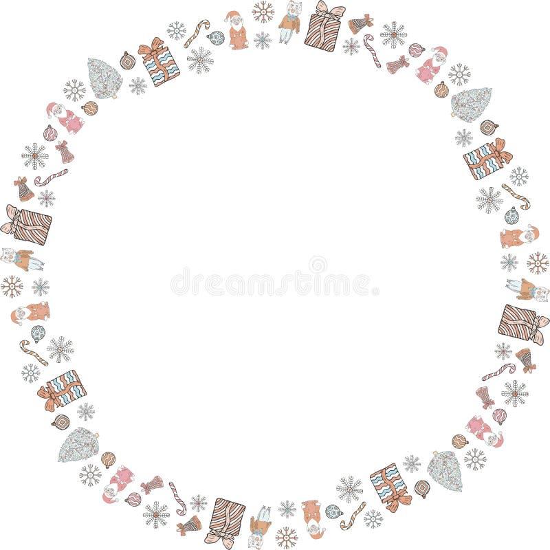 Στρογγυλό πλαίσιο για το νέο έτος και Χριστούγεννα φιαγμένα από doodles Προτάσεις Santa, χοίροι, δώρα, χριστουγεννιάτικα δέντρα,  ελεύθερη απεικόνιση δικαιώματος