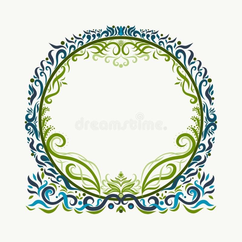 Στρογγυλό πλαίσιο περίκομψο με τις κομψές μπούκλες, πράσινο και μπλε ελεύθερη απεικόνιση δικαιώματος