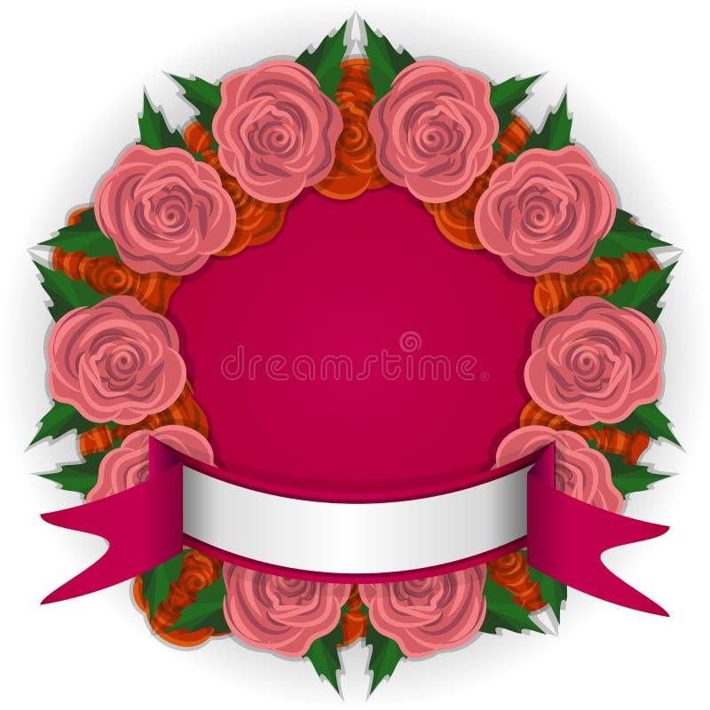 Στρογγυλό πλαίσιο της ρόδινης διανυσματικής απεικόνισης τριαντάφυλλων διανυσματική απεικόνιση