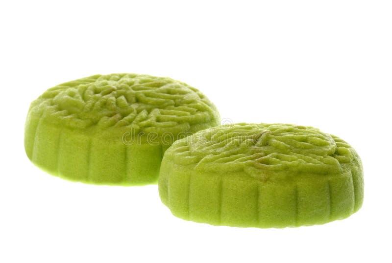 Στρογγυλό πράσινο κινεζικό Mooncakes στοκ εικόνα