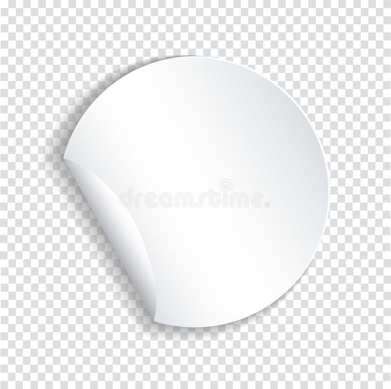 Στρογγυλό πρότυπο αυτοκόλλητων ετικεττών εγγράφου με την καμμμένη άκρη με το διαφανές sha διανυσματική απεικόνιση
